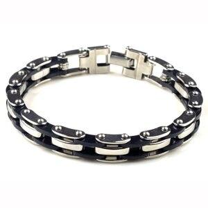 Мужские резиновые браслеты AOMU, браслеты-цепи из нержавеющей стали высокого качества