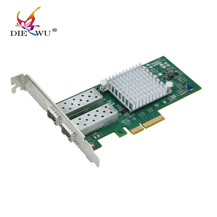DIEWU speed 10 gigabit pcie*8 dual port SFP+ fiber network card pci express lan rj45 rj-45 card adapter  X520 82599ES/E10G42BTDA цена 2017