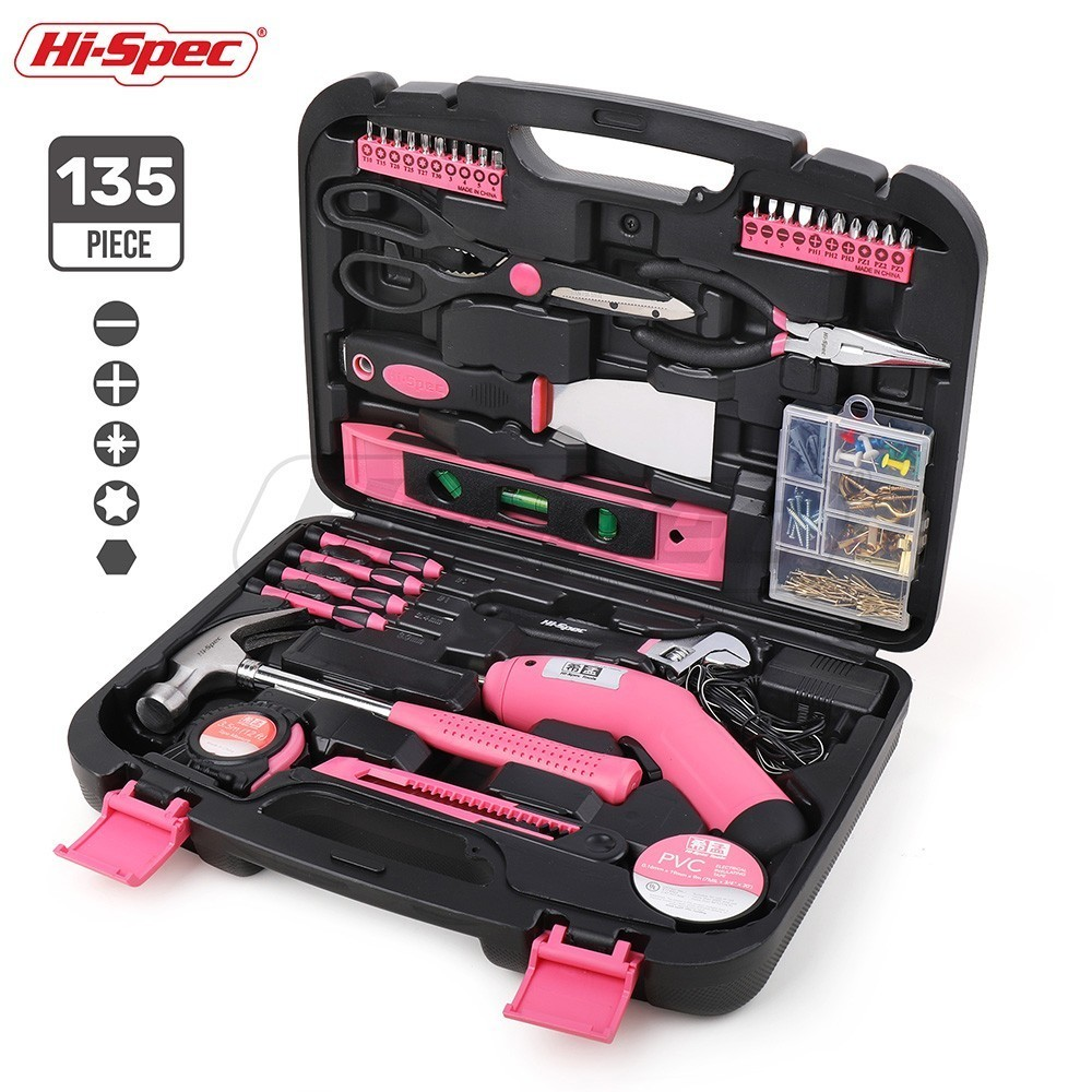 Hi-Spec 135 Pieces Pink Power Tool Set 4.8V Electric Screwdriver Repair Household Hand Tool Set Kit Gift for Girl Lady Women free shipping proskit pt 1362u usb li ion cordless electric screwdriver electronics repair tool set power tool kit household