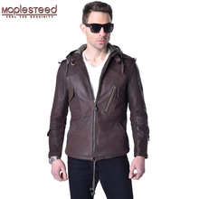 Factory Men's Genuine Leather Jacket Hooded Real Sheep Cow Skin Brand Casual Sli