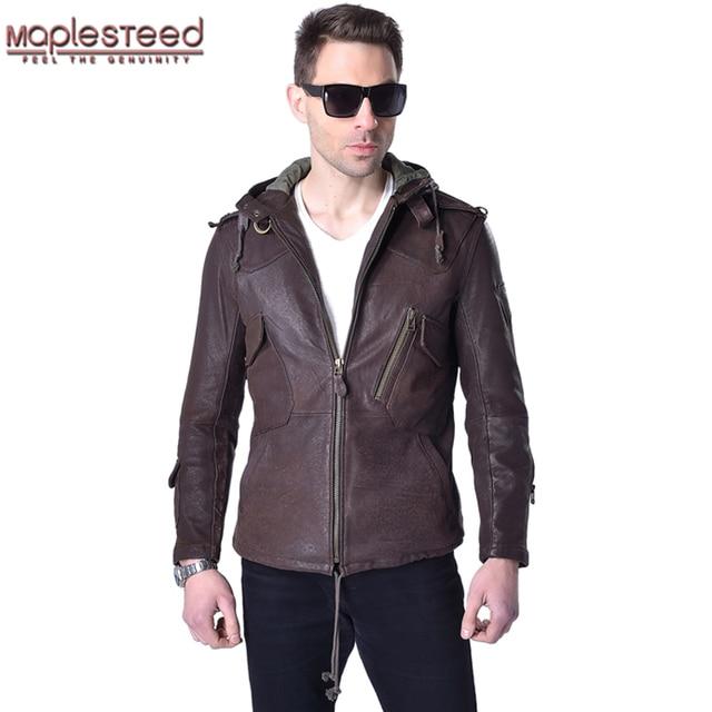 Veste en cuir véritable homme, marque en peau de vache, décontracté, Slim, avec capuche en vrai mouton, pour moto, printemps automne ZH141