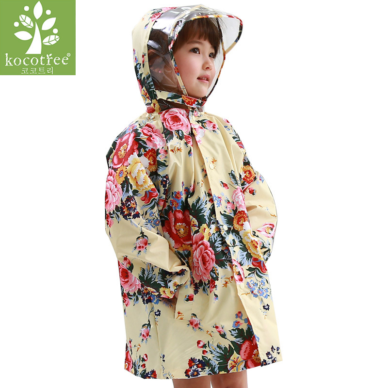 Kocotree <font><b>lovely</b></font> big flower children raincoat girls poncho baby waterproof poncho <font><b>rain</b></font> coat kids rainwear baby band <font><b>rain</b></font> jacket