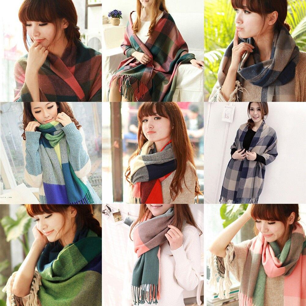 Long Warm Winter Printing plaid Women Fashion Tassels bandana Neck Scraf