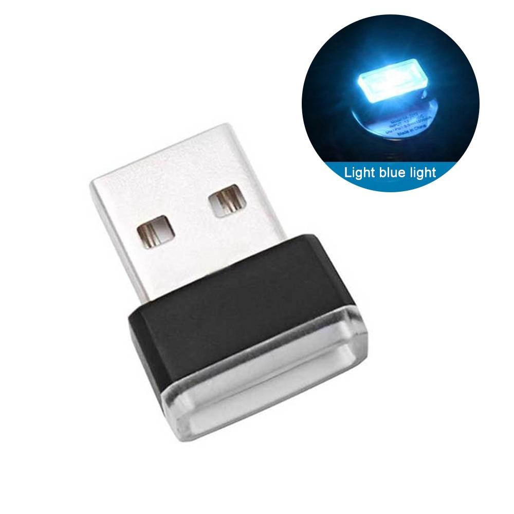 Мини USB светильник светодиодный модельный автомобильный окружающий светильник неоновый интерьерный светильник Автомобильные украшения(7 цветов на светильник - Испускаемый цвет: Кристально-синий