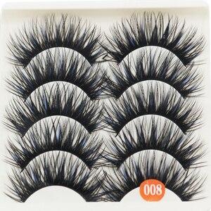 Image 5 - 5 пар искусственных 100% норковых угловых густых накладных ресниц синие Черные длинные толстые крестовые ресницы ручной работы для макияжа