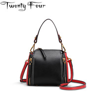 Twenty Four Women Color Lump Bag New Designer Small Bucket Handbag Lady Dual Functions Leather Bucket