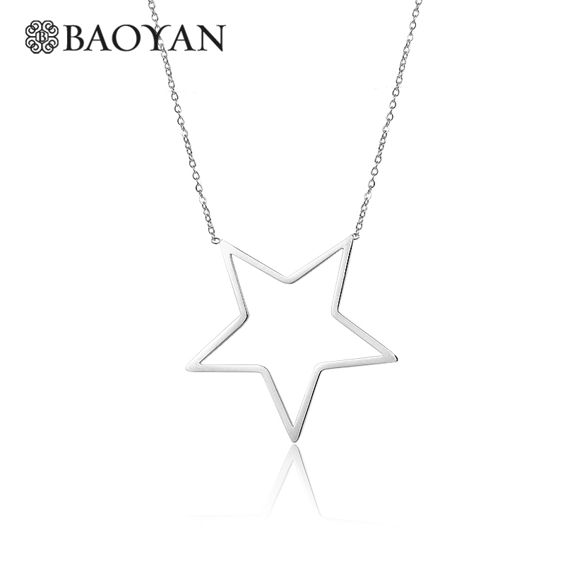 BAOYAN 316L Stainless Steel Cute Girls Moon Star Flower Pendant Necklace for Women Valentine's Day Gift Sale N3