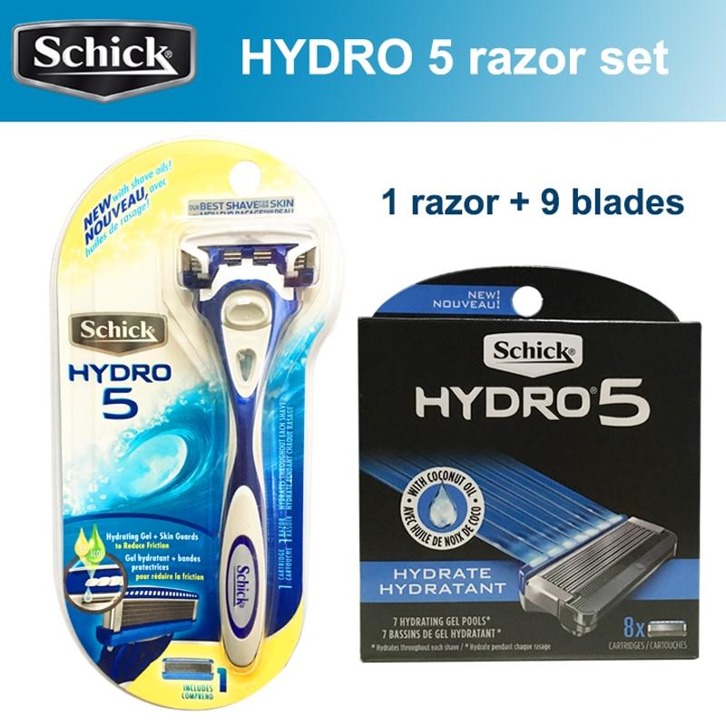 2020 novo original genuino schick hidro 5 laminas de barbear conjunto 9 laminas 1 navalha melhor
