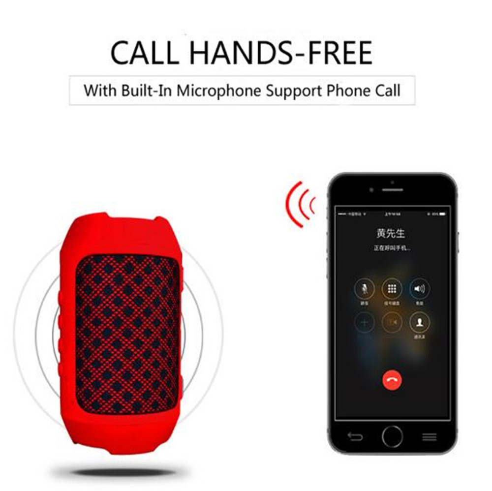 MKUYT Portable bluetooth speaker 3W outdoor mini wireless column covered with cloth support Aux/TF card/FM Radio/USB