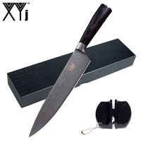 Kitchen Knife 8 Inch Chef Knife XYj Color Wood Handle Stainless Steel Knife Mini Sharpener Gift