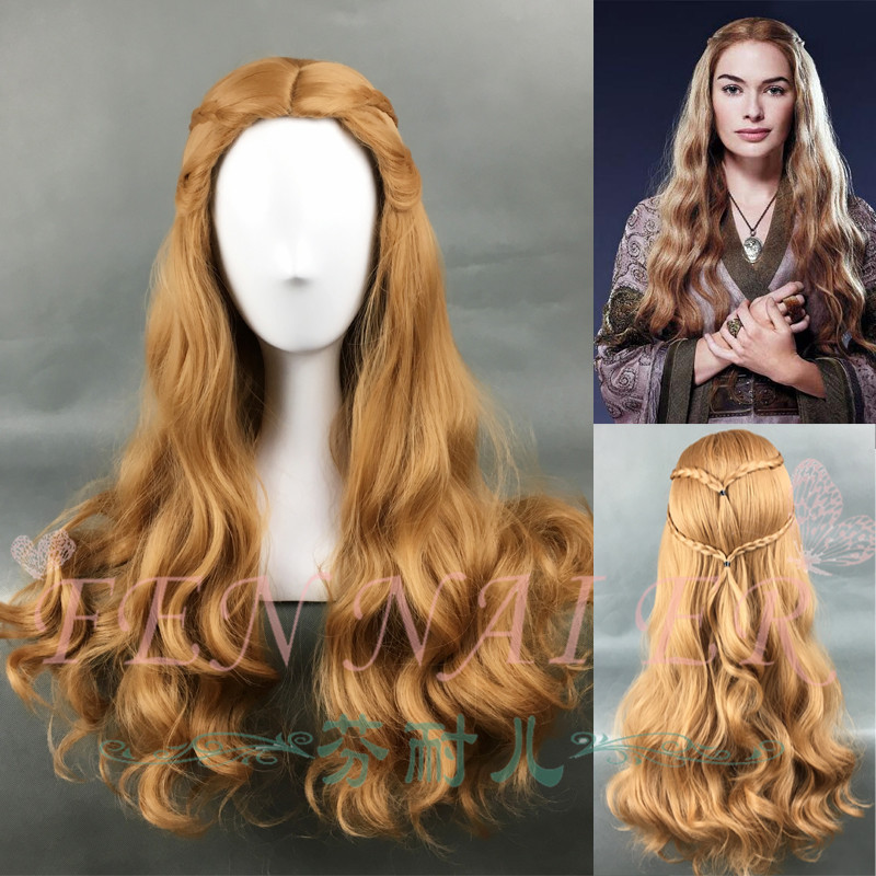 Game of Thrones Queen Cersei Lannister Brown Wig Wavy Hair Cosplay Wig Halloween Role Play