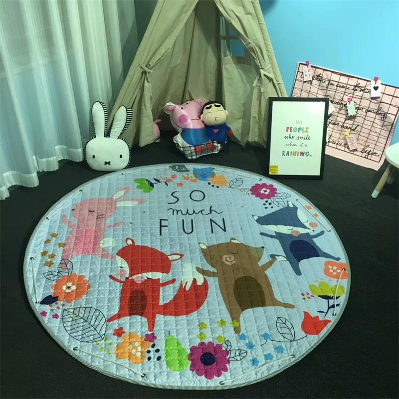 Kids Floor Carpet Rug Baby Play Quilted Mat Crawling Padded Mat Toy Storage Bag Teepee Mat