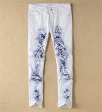 Мода Новый Цветок Печати Белые Джинсовые Брюки Мода Slim Джинсы