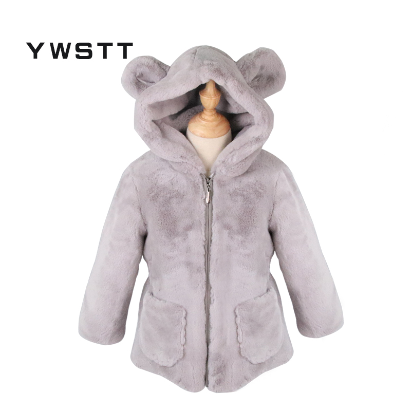 Ywstt 2017 Winter New Baby Girls Faux Fur Coat Warm Fleece Jacket  Cartoon Bear Ears  Girls Jacket Thick Zipper Outwear Coats women winter coat leisure big yards hooded fur collar jacket thick warm cotton parkas new style female students overcoat ok238