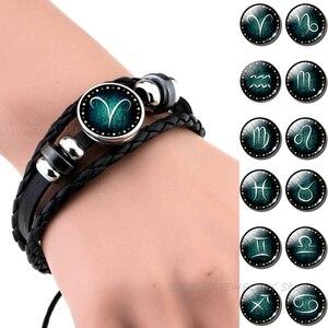 12 созвездий черный браслет со стеклянным кабошоном ювелирные изделия из нетканого материала с знак зодиака, браслеты из нержавеющей стали ...