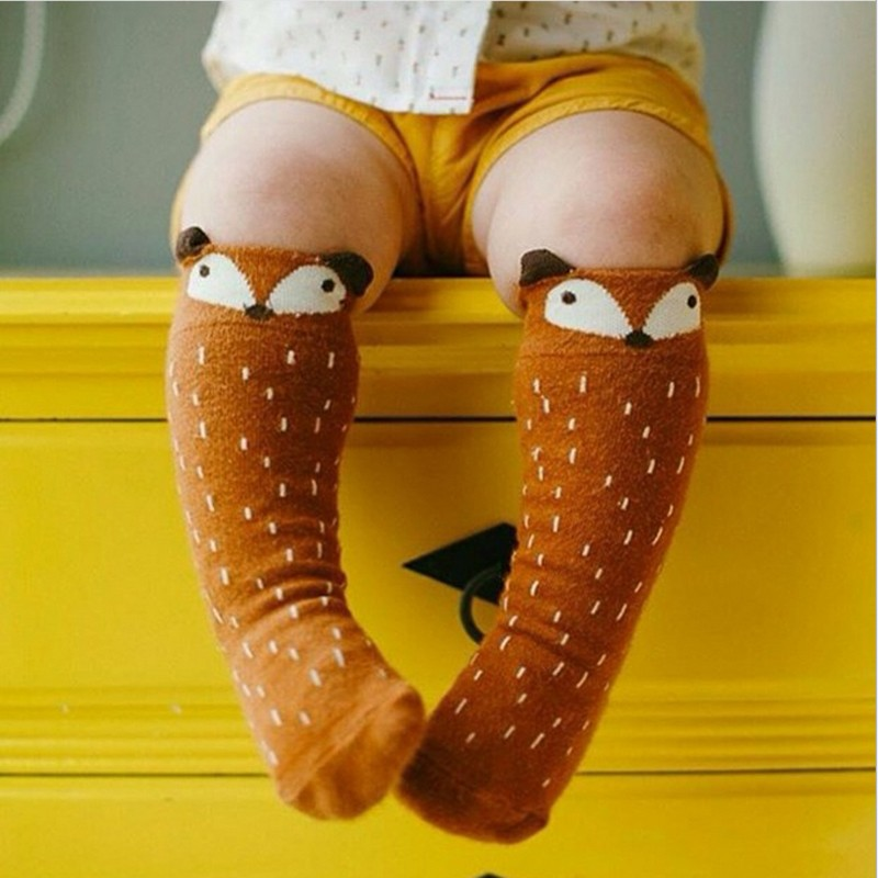 1 Par Unisex Dejlig Cute Cartoon Fox Kids Baby Sokker Knee Girl Boy Baby Toddler Sokker Dyr Spædbarn Sød Cotton Sokker 0-3 Y