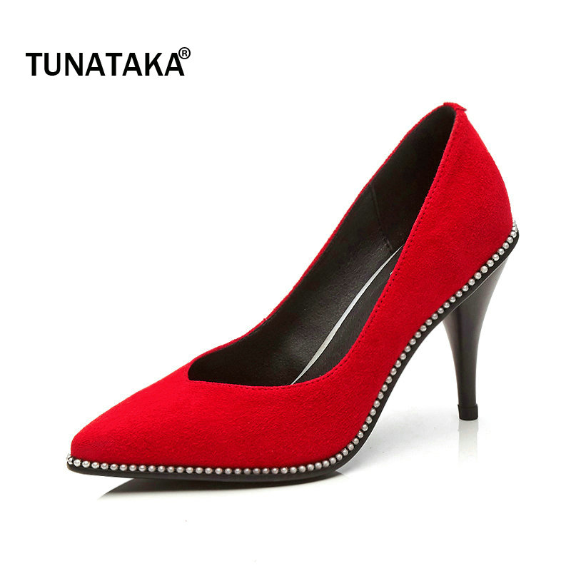 The New Suede Thin High Heel Pointed Toe Woman Lazy Pumps Fashion Shallow Dress High Heel Shoes Woman Black Red newest solid flock high heel pumps woman