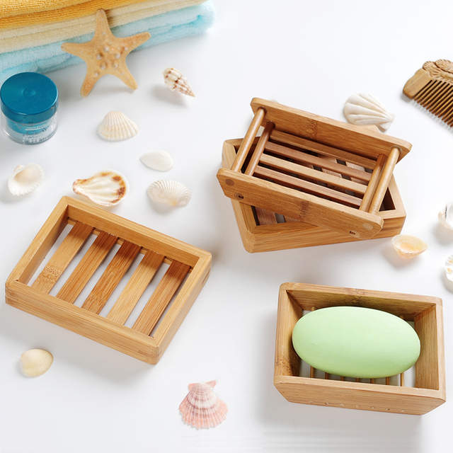 Multifunction Wood Soap Dish Soap Holder Soapbox Shower Tray Plate Sink  Sponge Holder Bathroom Kitchen Accessories