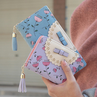 2015 Newest Women Wallet Fashion Candy Floral Hollow Out Lady Clutch High Quality PU Leather Zipper