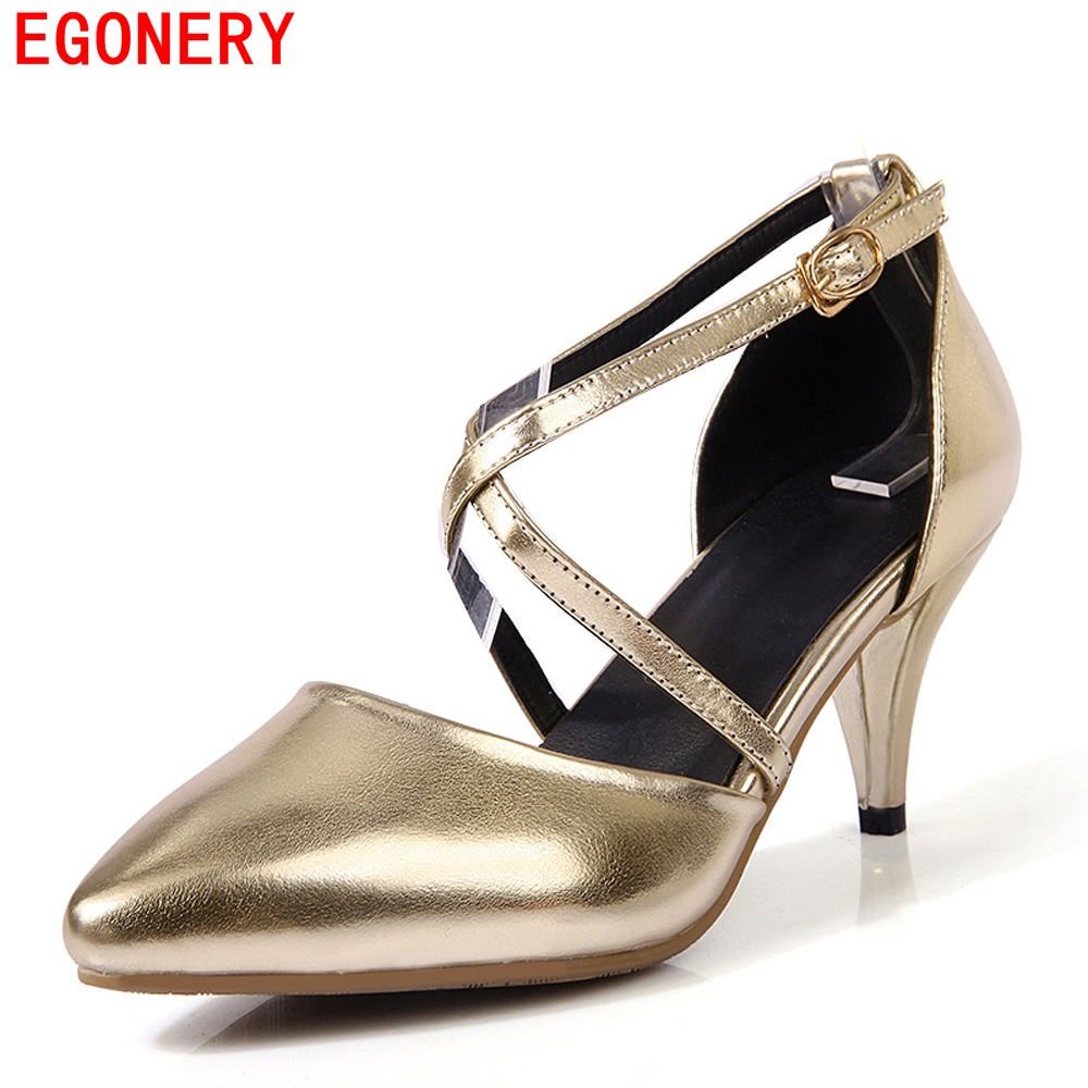 Quality Patent Leather Buckle Strap Pointed Toe High Heels Fashion Summber Style Party Womens Shoes Woman Pumps