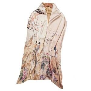 Image 2 - Осенний шелковый шарф женский зимний модный Шелковый шарф в китайском стиле с принтом пашимина Ари кольцевые шарфы женский аксессуар 170X46cm TT395