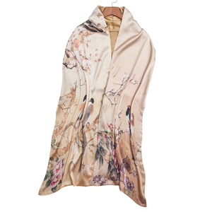 Image 2 - Autumn Silk Scarf Women Winter Fashion Chinese Style Silk Print Scarf Pashimina Ari Ring Scarves women Accessory 170X46cm TT395