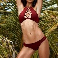 Sexemara Bikini Swimsuit Women Sexy Solid Swimwear Bathing Suit Woman Swimming Suit For Beachwear Seaside Pool