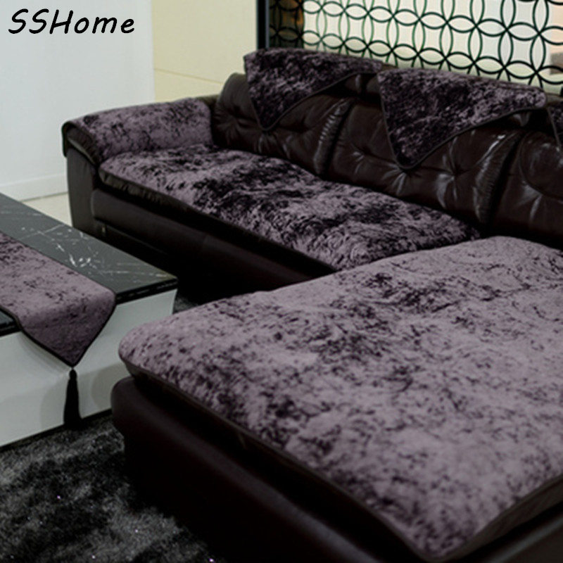 High Quality Modern Plush Sofa Cushion Covers Fabric Sofa Slip Resistant  Winter Towel Icepatterned Dark Color Lilac