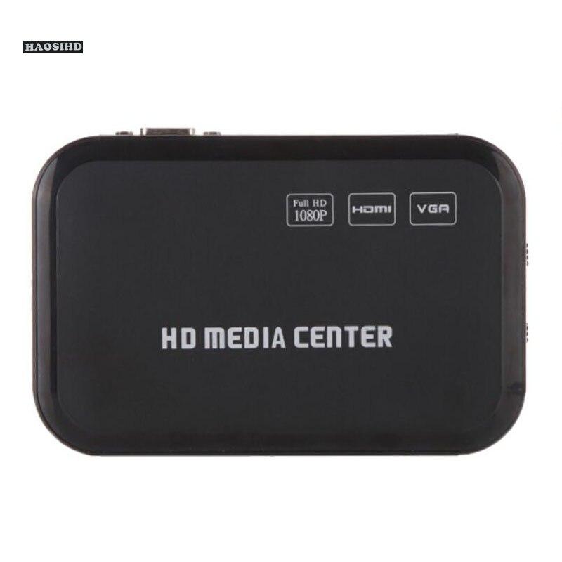 Mini lecteur multimédia Full HD 1080 P avec sortie HDMI/VGA/AV/USB/SD/MMC/optique-noir, fonction lecture automatique lors de la mise sous tension.