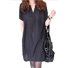 Free Shipping Maternity Clothes New 2016  Large Size V-neck Polka Dot Dresses for Pregnant Women Dress Wholesale YFQ006