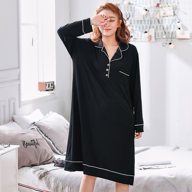 4XL-5XL plus size sleepwear women oversize nightgown long sleeve home clothing spring summer sleepdress maternity lingerie modal