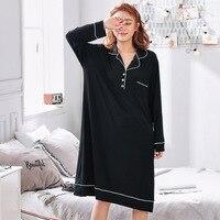 4XL 5XL plus size sleepwear women oversize nightgown long sleeve home clothing spring summer sleepdress maternity lingerie modal
