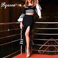 Bqueen 2017 New Elegant Off The Shoulder Crop Top Long Flare Sleeve Striped Black Bandage Dress Sets Autumn