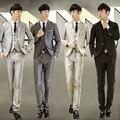 Homens Blazer ternos de casamento do noivo 3 peça terno colete + casaco + calça Casual Slim Fit moda do casamento roupas de manga H33