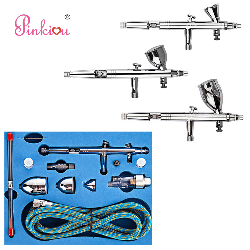 Pinkiou Double-action Trigger Control Airbrush Kit 0.2/0.3/0.5mm Needle Airbrush For Nails Art Face Paint Aerografo Tattoo цена