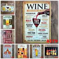 ZJY wine beer cheers Retro Metal Tin Vintage Plaque Wall Decor Plate Home Bar Tin Signs Coffee Poster Painting Size:20*30cm