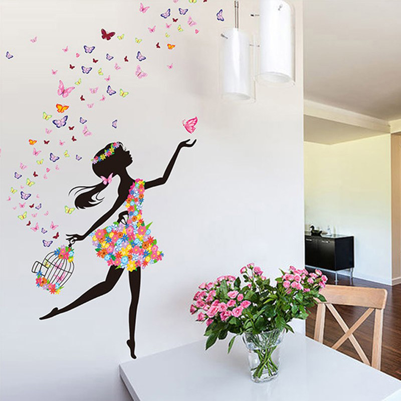 Flowers Wall Wallpapers Design For Your Bedrooms Decorating: Modern DIY Decorative Mural PVC Girl Butterflies Flower