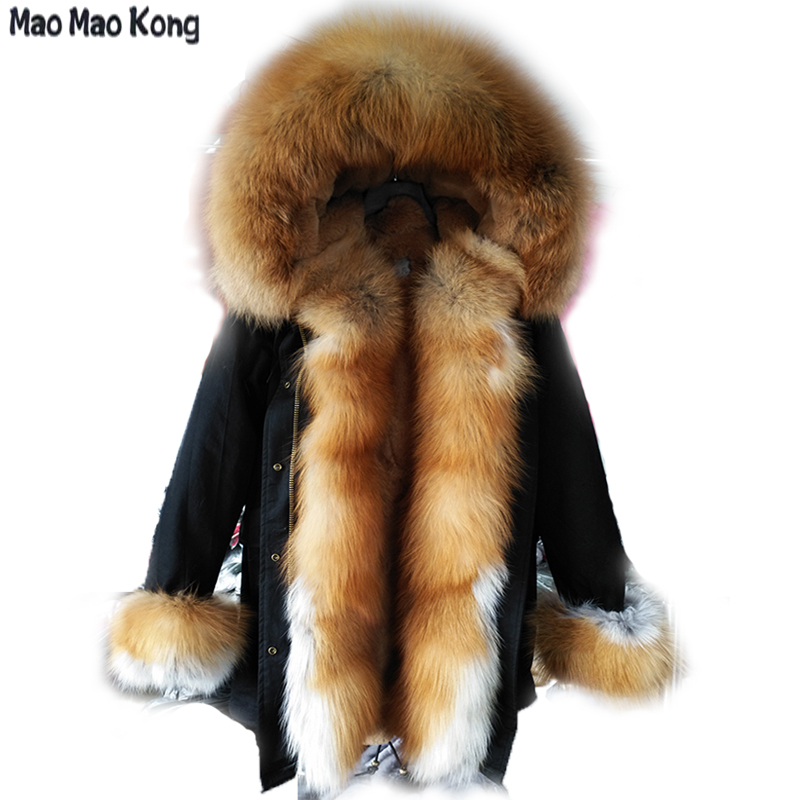 MaoMaoKong   parka   winter jacket women big natural real fox fur collar warm thick Silver PU   parkas   outerwear winter coat women