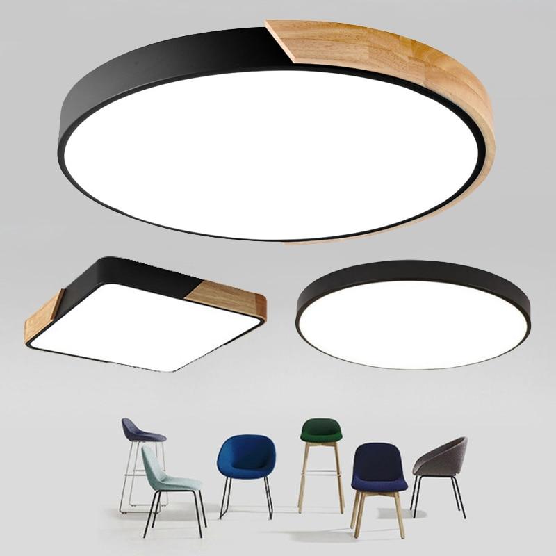 Ultra-fino led 5cm luz de teto moderna lâmpada de teto montagem em superfície painel nivelado controle remoto luz para restaurante quarto foyer