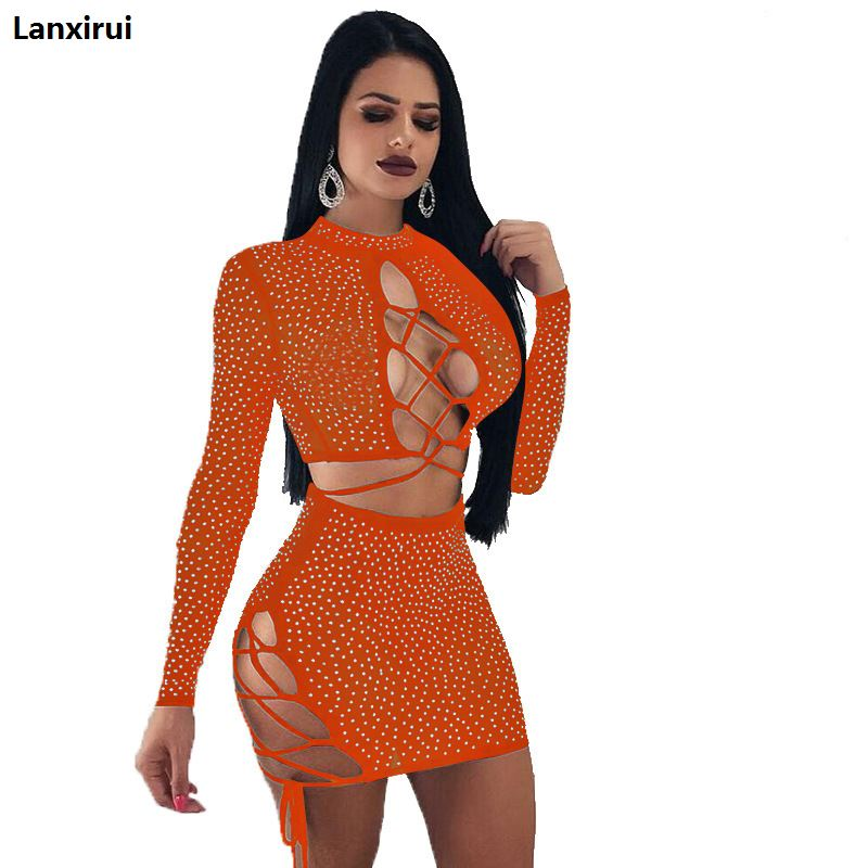 Off Shoulder Suede Leather Two Piece Set Dress Women Long Sleeve Beading Strapless Club Party Dress 2 Pieces Set in Women 39 s Sets from Women 39 s Clothing