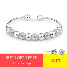 Hot Sale Women 925 Sterling Silver Lucky Beads Bangles Open Cuff Bracelets & Bangles Jewelry pulseras of S-B15(China)