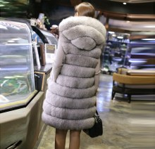 New Fashion Long Faux Fox Mink Fur Vest With Hooded Women Winter Slims Super Long Fake Fur Vests Female Jackets