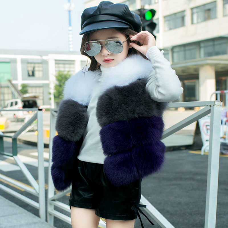 Children Real Fox Fur Vest 2017 Autumn Winter Warm Baby Waistcoats Short Thick Vests Boys Grils Outerwear Solid Short Vest ACT-2 2016 rex rabbit fur vest girls lovely hooded rabbits short coat vest children s solid pink and white short o neck vest for baby