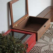 ZAKKA ретро-ностальгии деревянная крышка коробки стеклянные коробки творческий старинные коробка ювелирных изделий стол органайзер