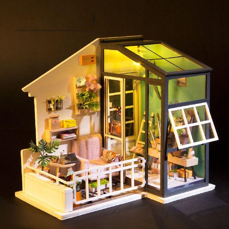 Girls Kids Childrens Wooden Nursery Bedroom Furniture Toy: Wood Diy Doll House Toy For Boy & Girl Children