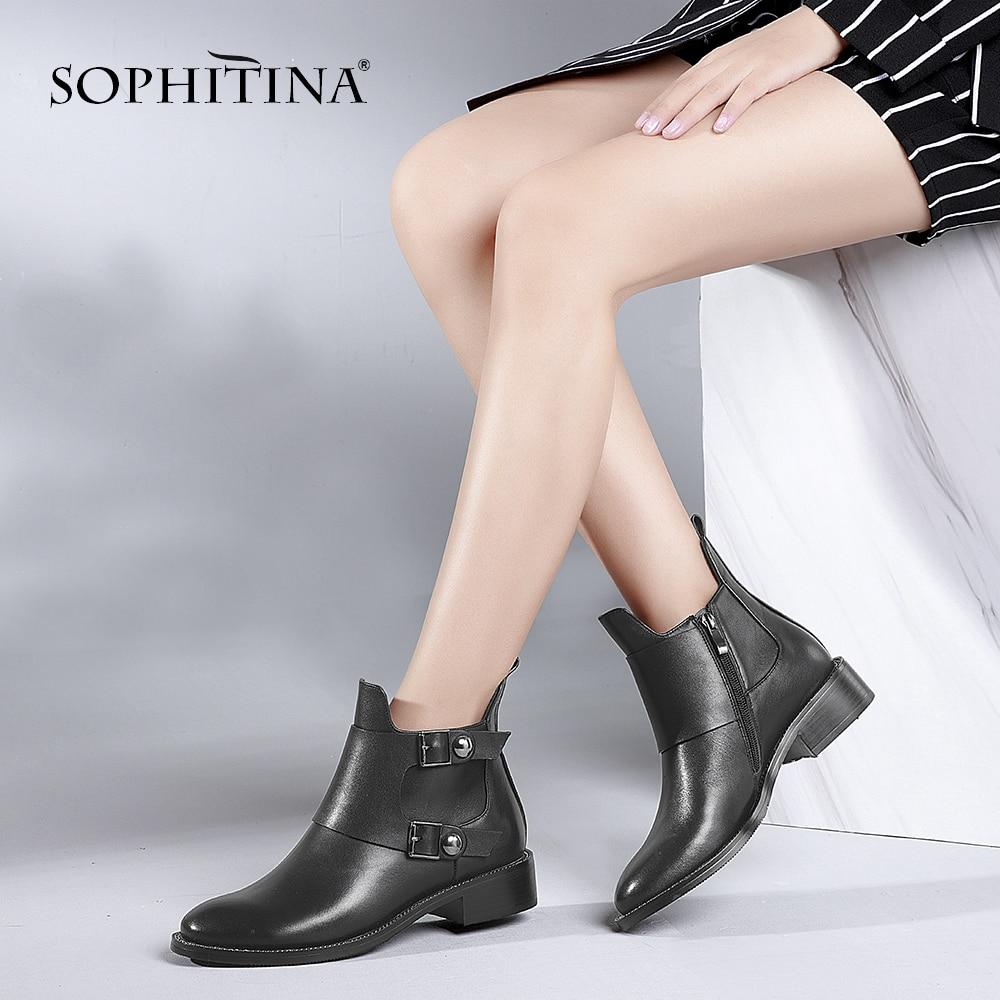 SOPHITINA 2018 Classique Cheville Bottes De Mode Boucle Bout Rond À La Main En Cuir Véritable Bottes Hiver Chaud Bas Talons Femmes Chaussures B72