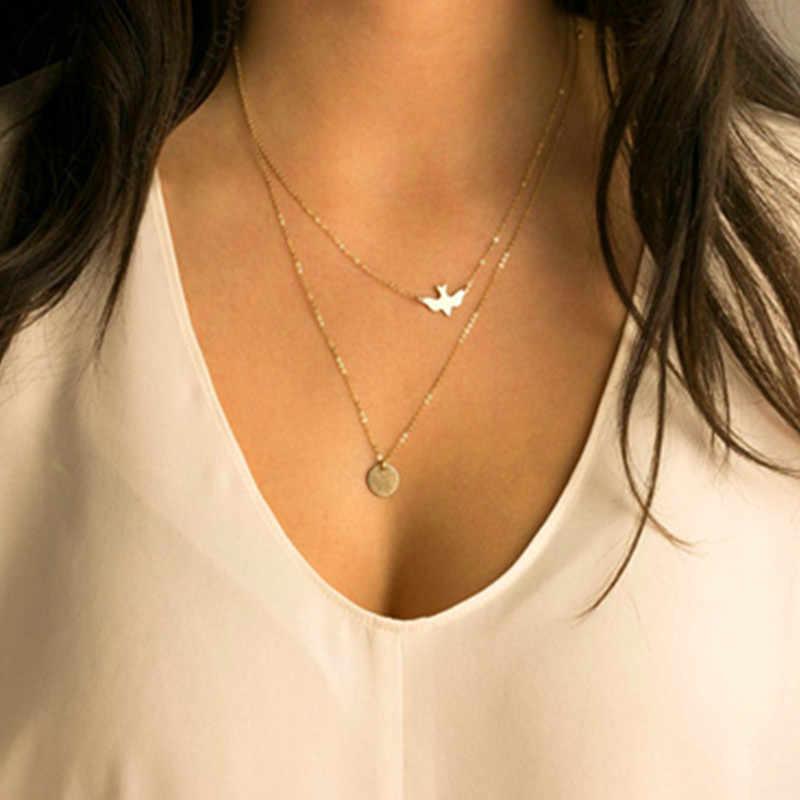 Koralik z kryształkami pręt okrągły urok złoty kolor naszyjnik łańcuch wielowarstwowe kreatywne naszyjniki amp wisiorki kobiety biżuteria letnia