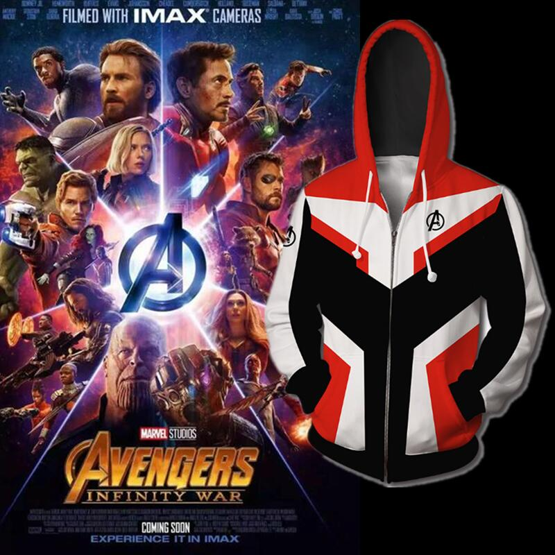 2019 New Movie Avengers Endgame Sweatshirt Jacket Advanced Tech Hoodie Cosplay Costumes