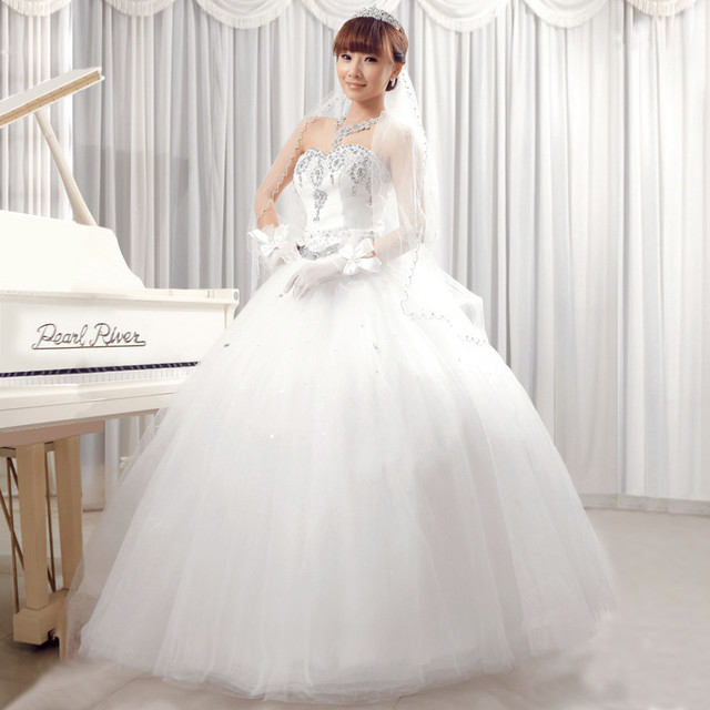 2014 new arrival tube top sweet princess puff skirt wedding dress