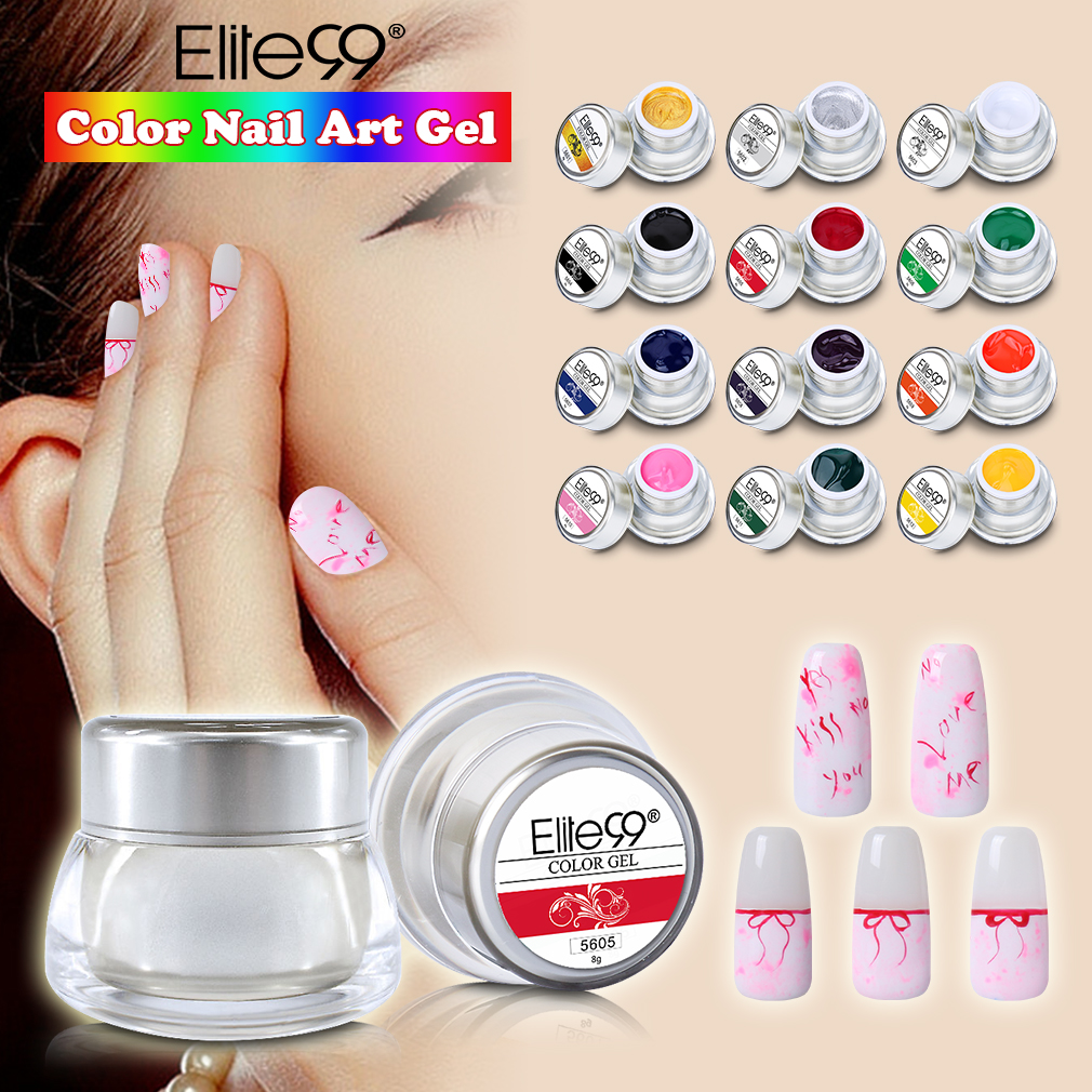 Elite99 12 Colors/set Acrylic Paint Gel 3D Nail Art Paint Color Gel Draw Painting Acrylic Color UV Gel Tip DIY Nail Art 8g